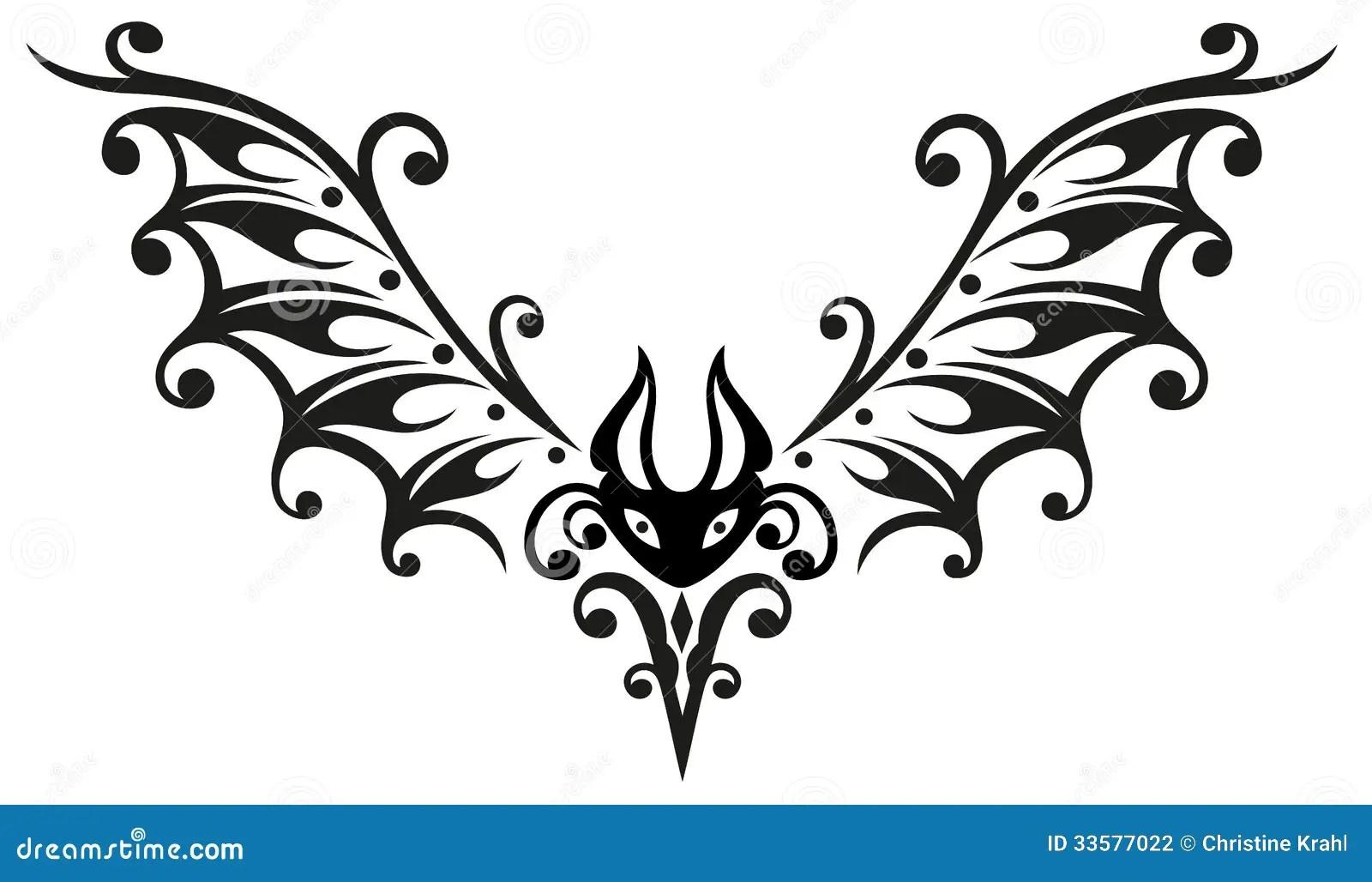 Pipistrello Halloween Tribale Illustrazione Vettoriale
