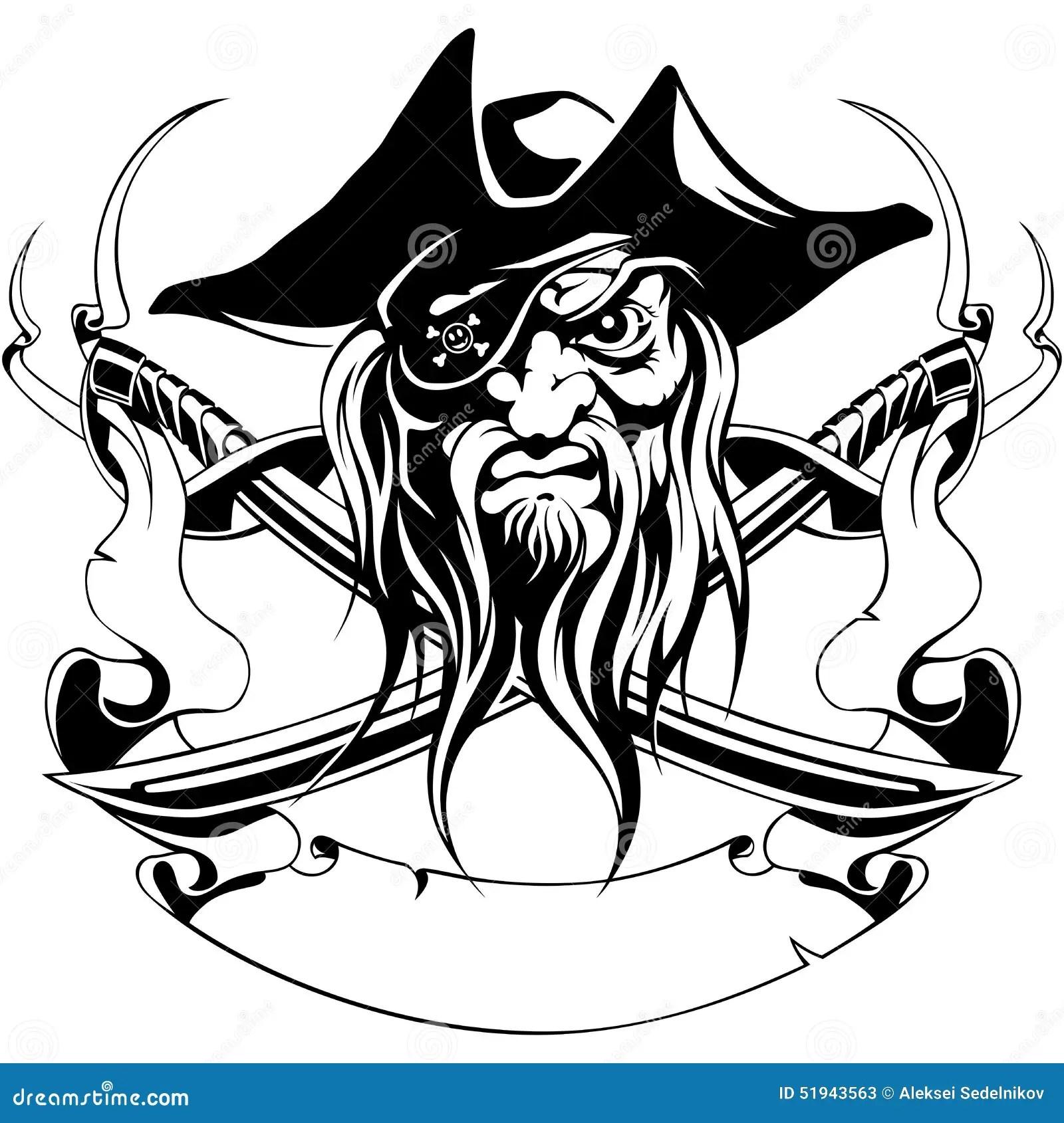 Pirate Hat Jolly Roger Swords Ribbon Symbol Black Stock