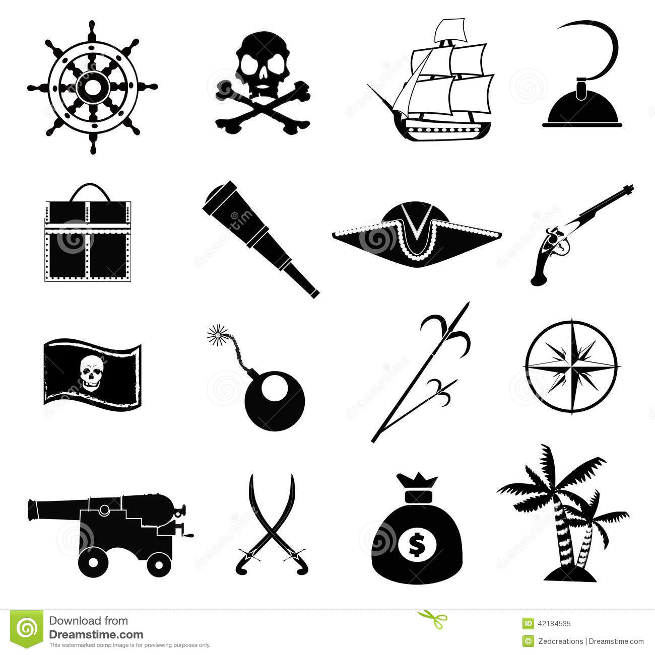 Pirate Icons Set Stock Vector Illustration Of Compass