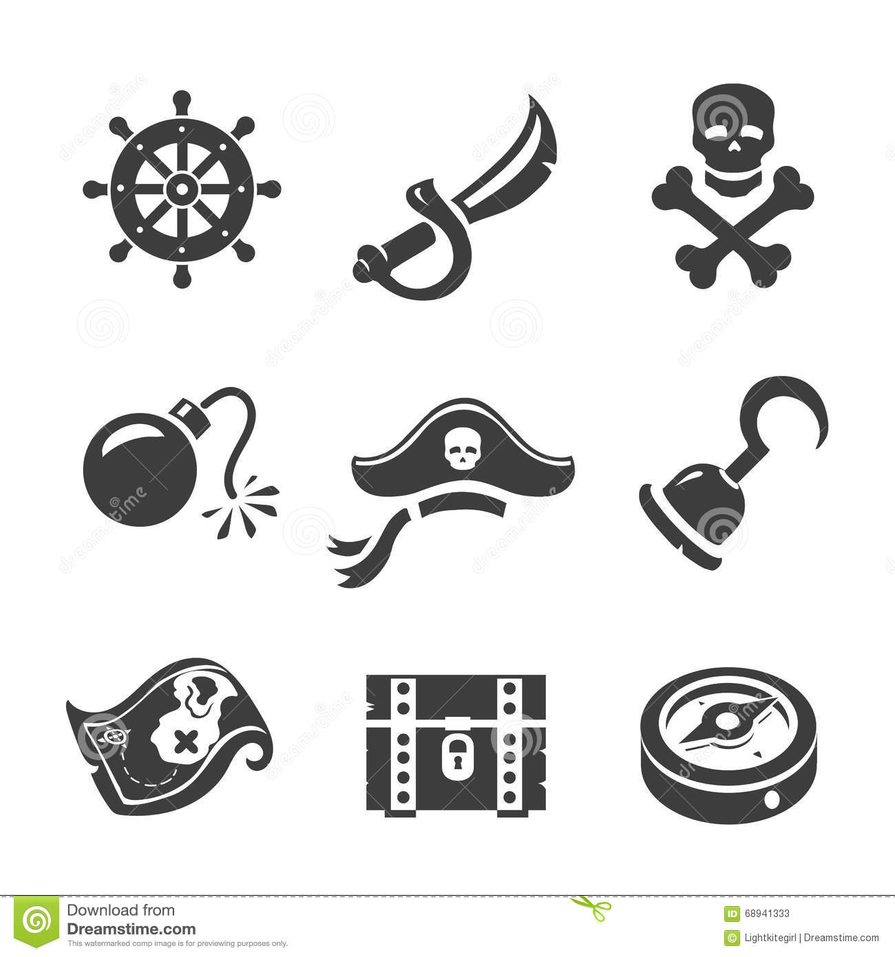 Pirate Icons Skull And Chest Pirates Treasure Map