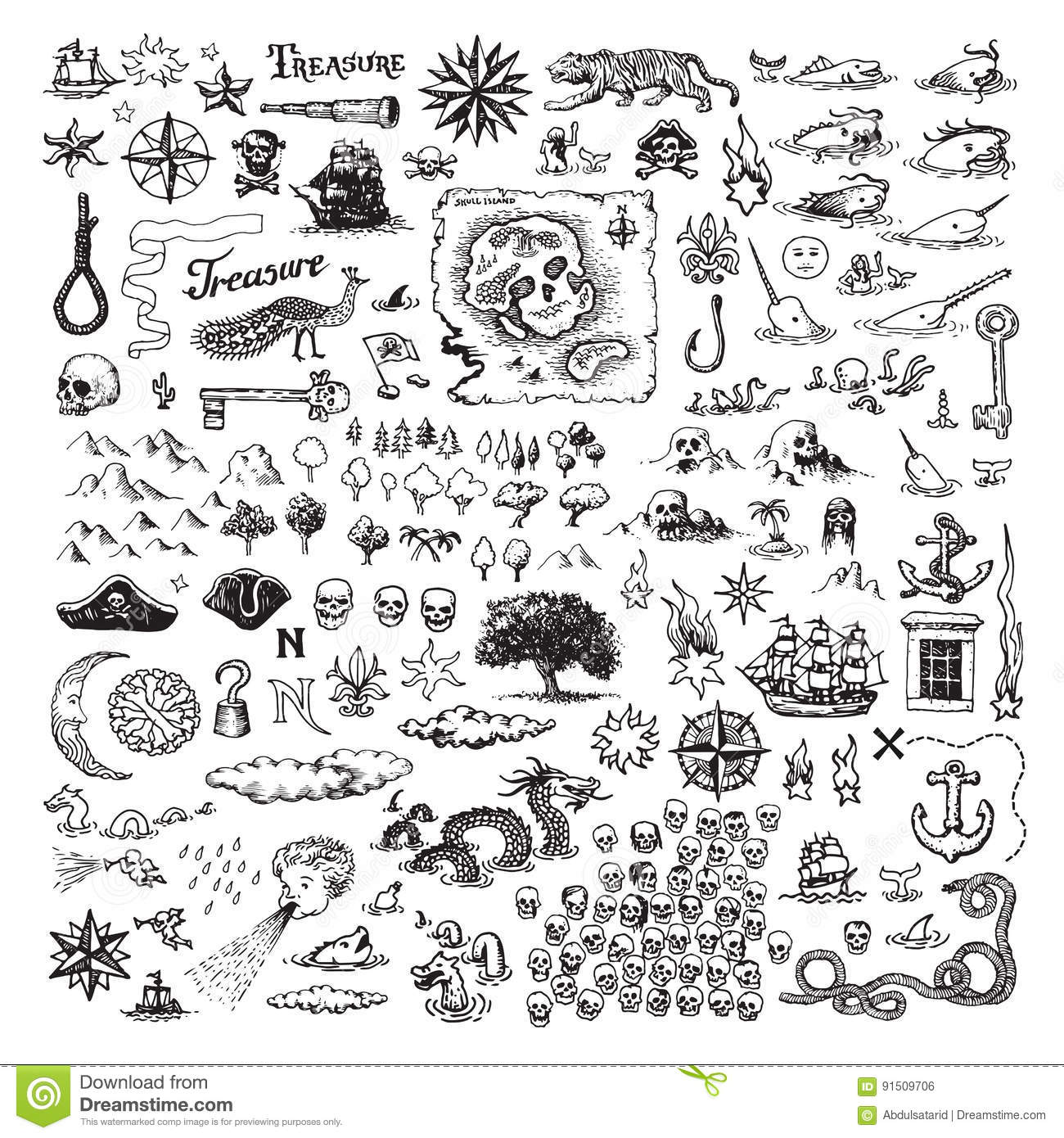 Pirate Map Elements Vector Illustration
