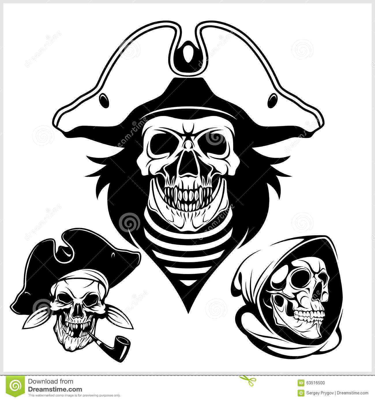 Pirate With Pirate Hat And Pipe Vector Illustration