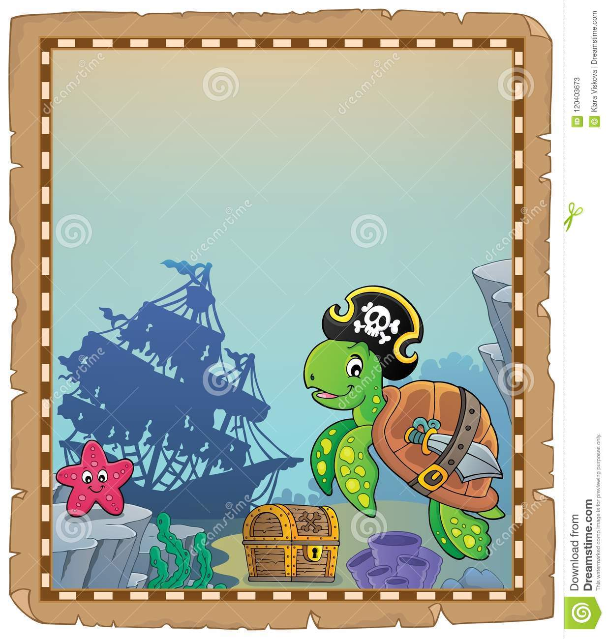 Pirate Turtle Theme Parchment 1 Stock Vector - Illustration of ocean. thematic: 120403673