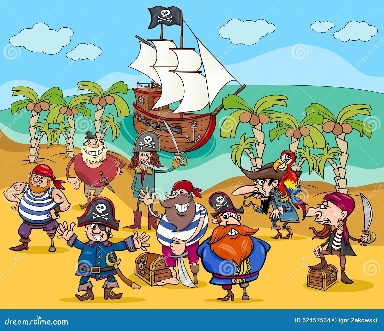 Pirates On Treasure Island Cartoon Stock Vector