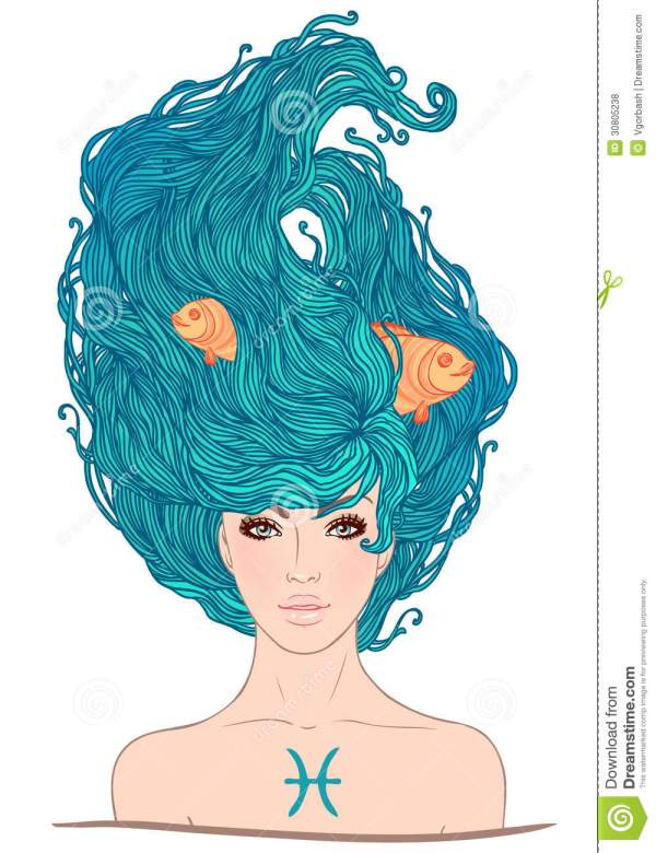 Pisces Astrological Sign Beautiful Girl. Royalty Free Stock - 30805238