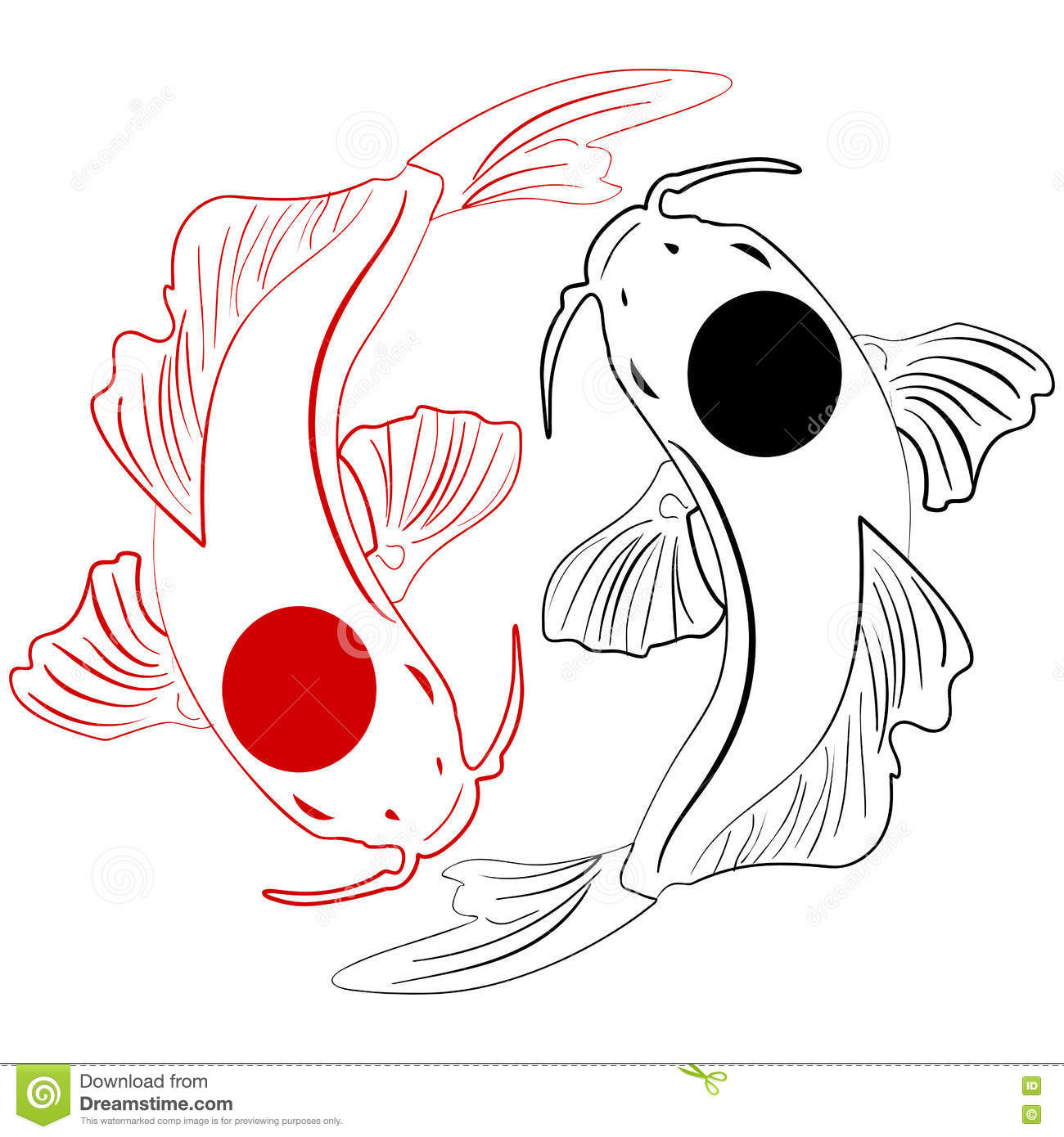 Pisces Koi Fish Chinese Carps Hand Drawn Doodle Stock