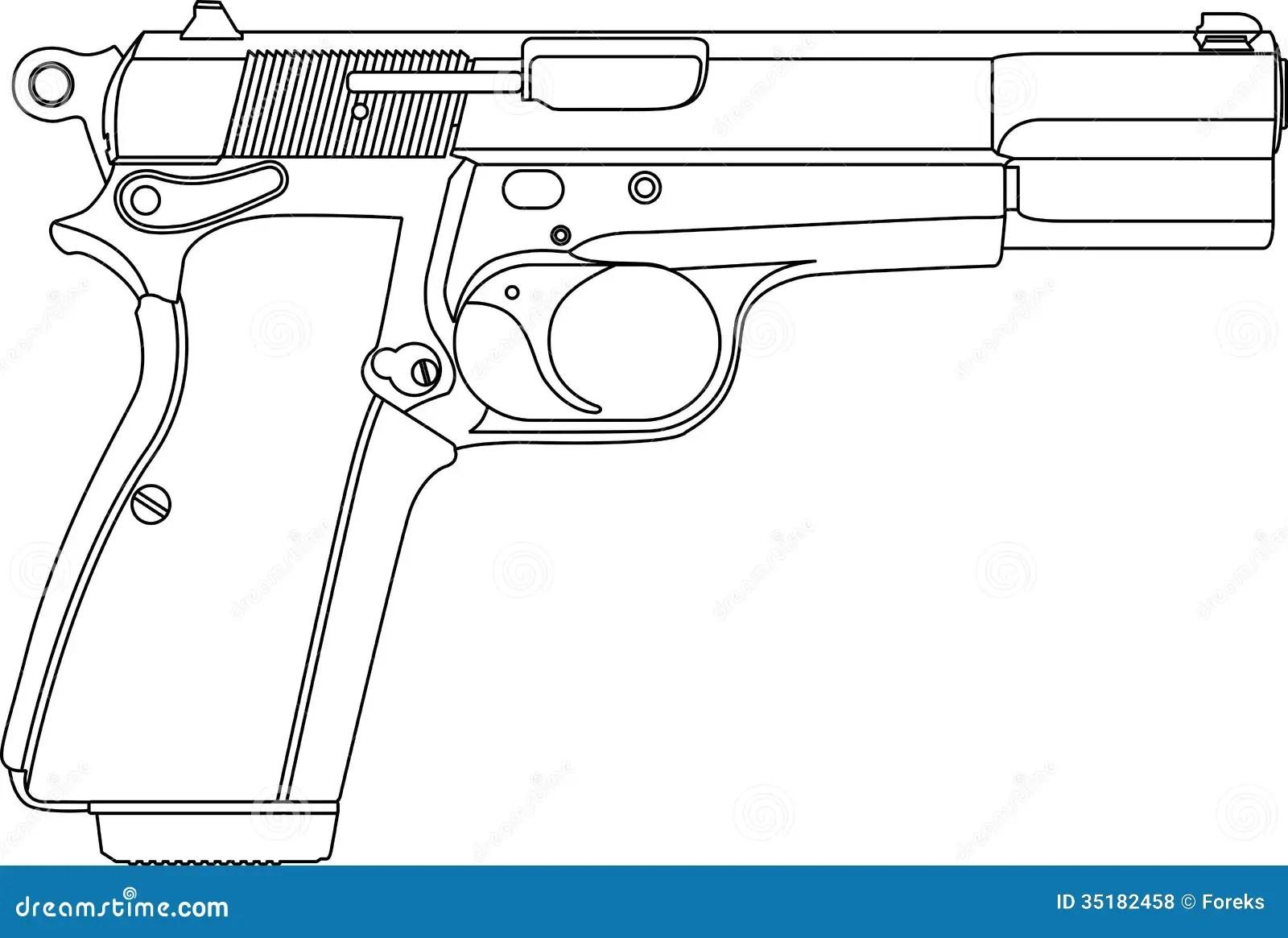 Pistola Del Arma De Wireframe Ilustracion Del Vector
