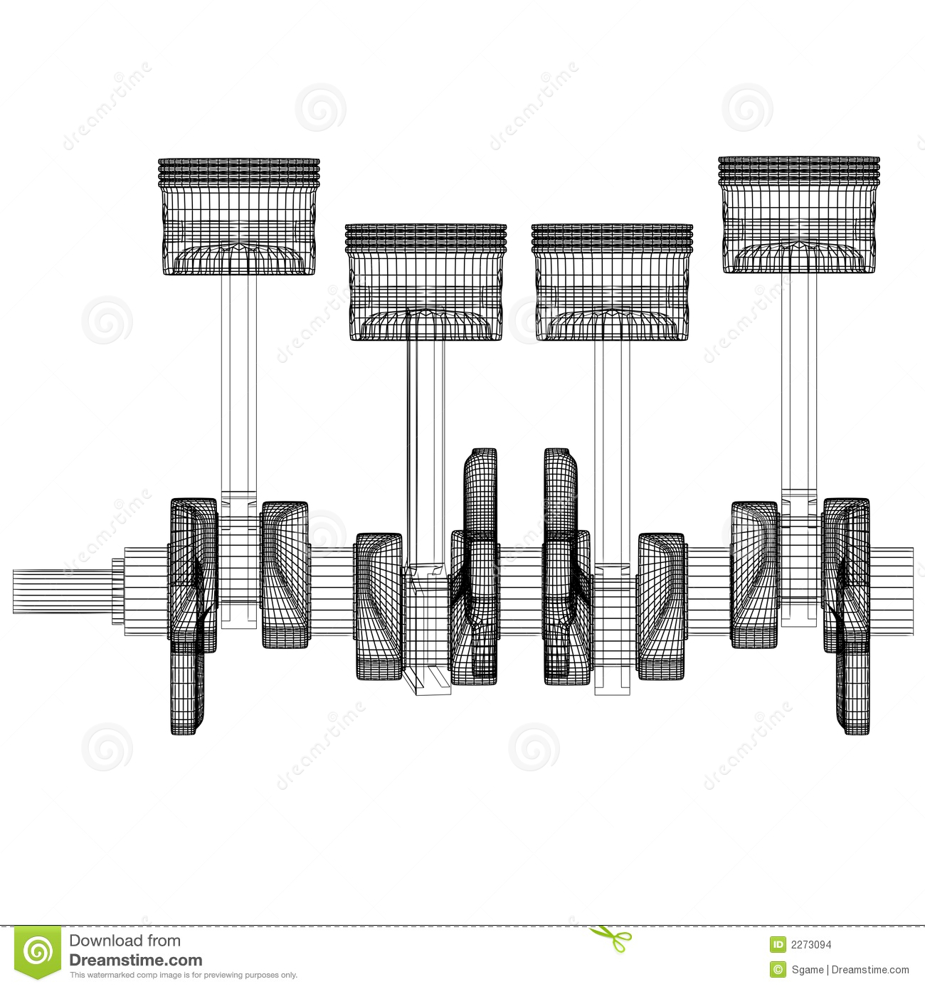 Pistons Crankshaft Stock Images
