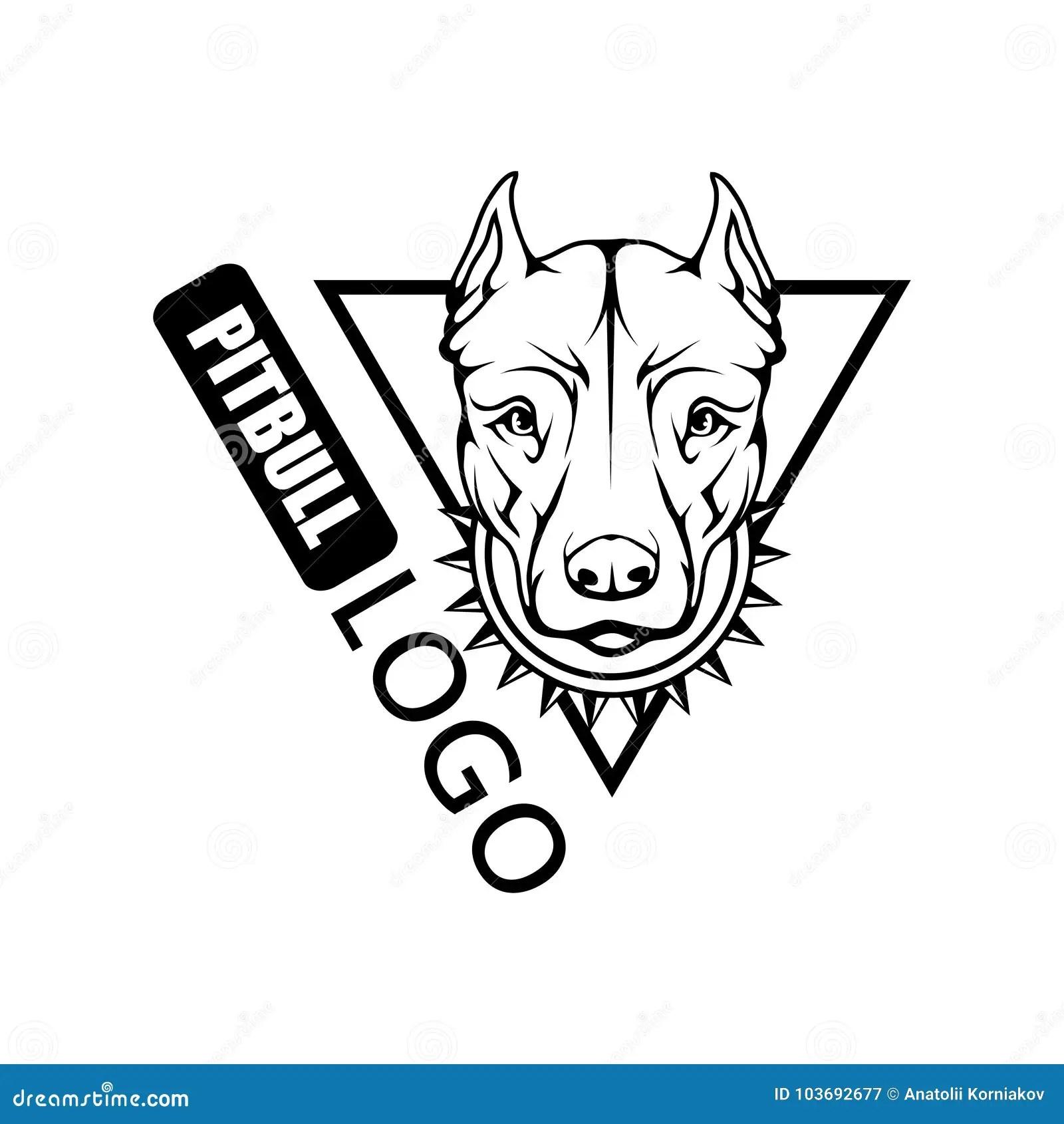Pit bull terrier dog logo. stock vector. Illustration of