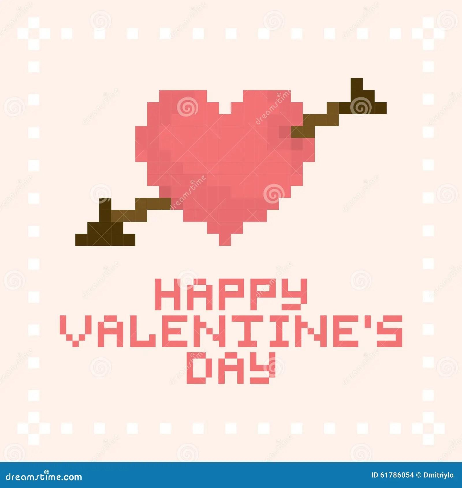 Pixel Art Valentines Day Card Stock Vector Illustration