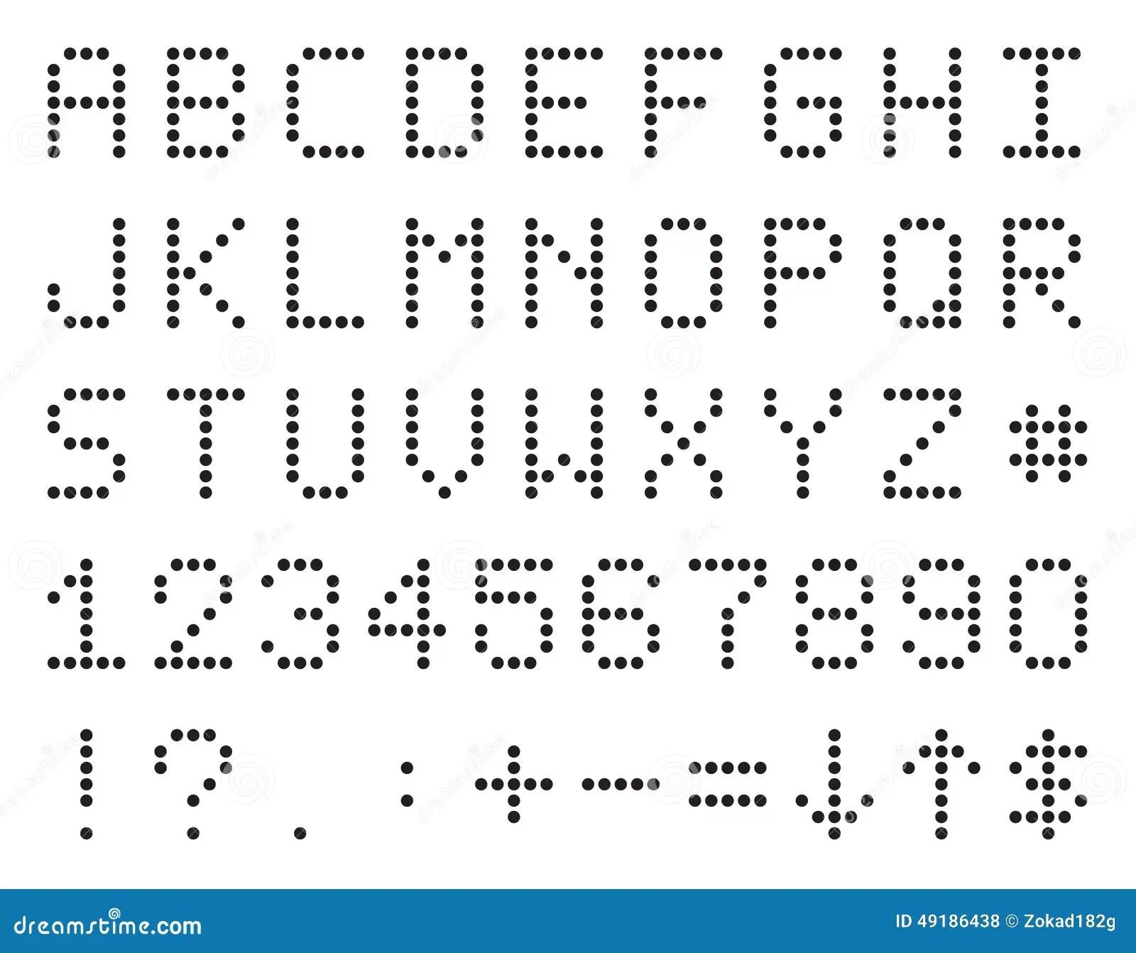 Pixel Oder Anzeigetafel Alphabet Zahlen Und Symbole
