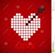 pixelated heart with black arrow