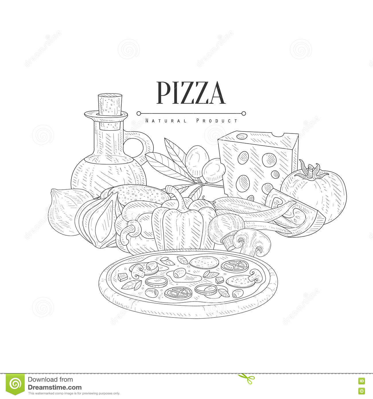Sliced Pizza On White Background. Hand Drawn Sketch Vector