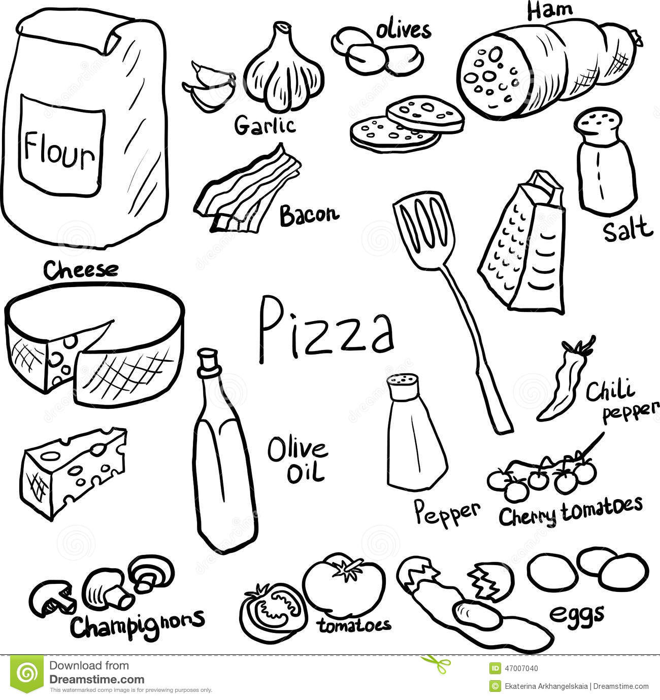 Pizza doodle set stock vector. Illustration of component