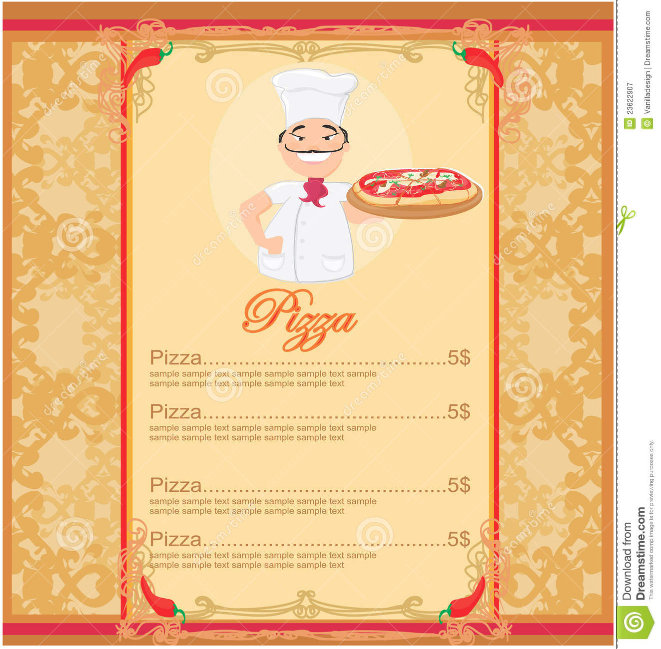 Pizza Menu Template Royalty Free Stock Photography  Image 23622907
