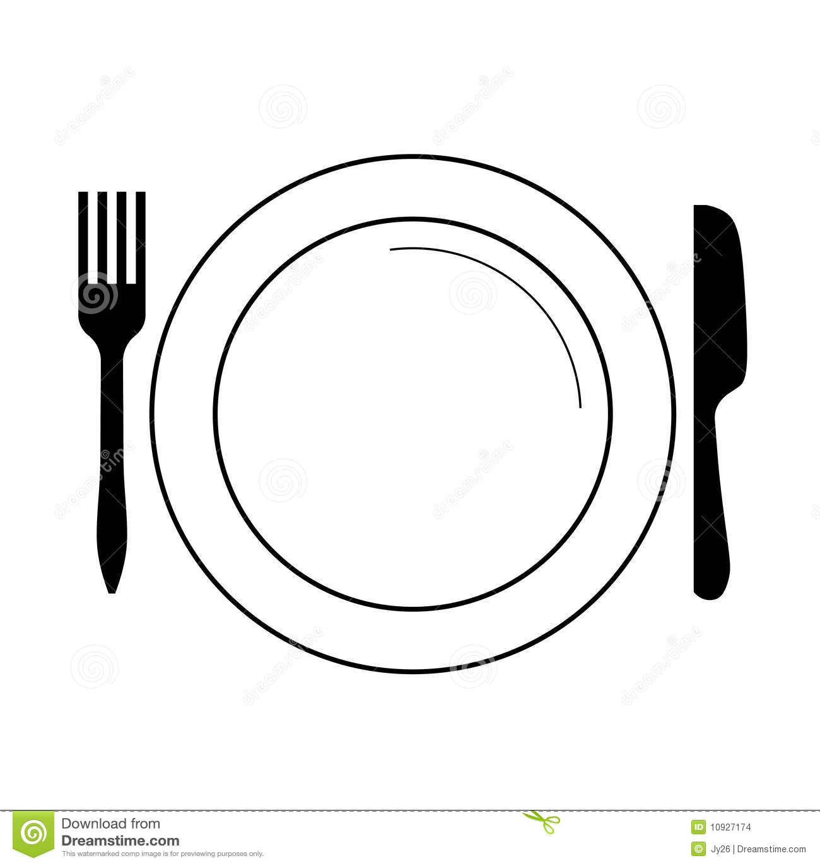 Placa Con La Fork Cuchillo Vector Ilustracion Del