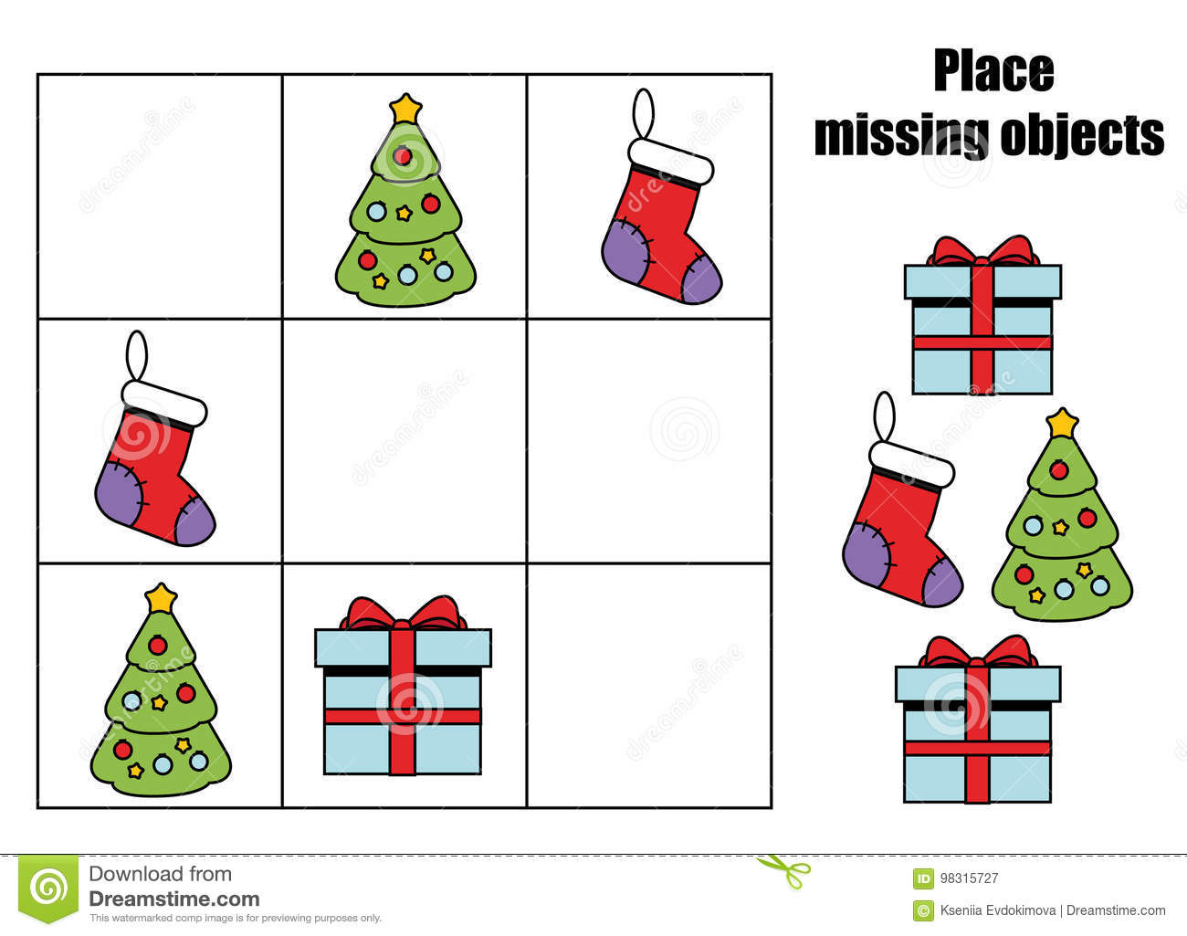Place Missing Objects In Grid Kids Activity Sheet Logic