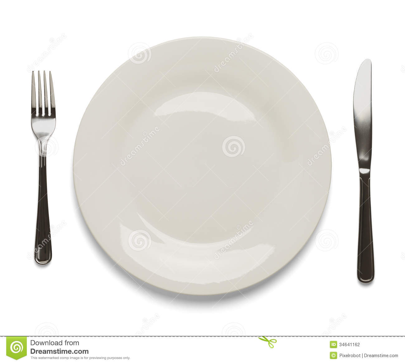 stock photography place setting dinner plate silverware white background