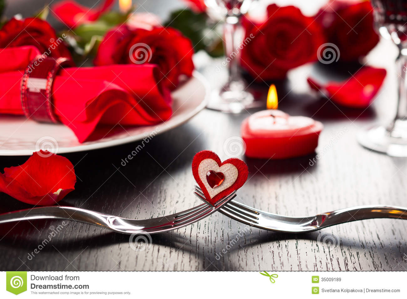 Place Setting For Valentines Day Royalty Free Stock