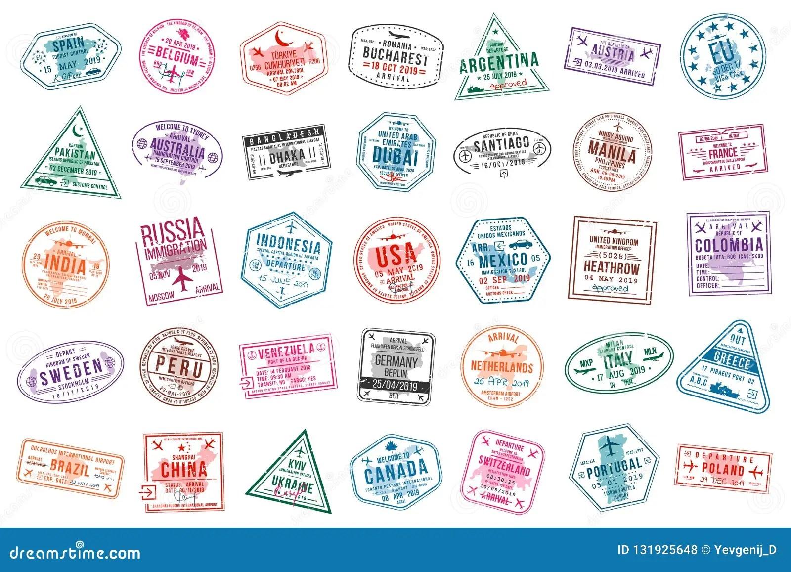 placez des sceaux de voyage pour des passeports timbres de bureau d international et d immigration