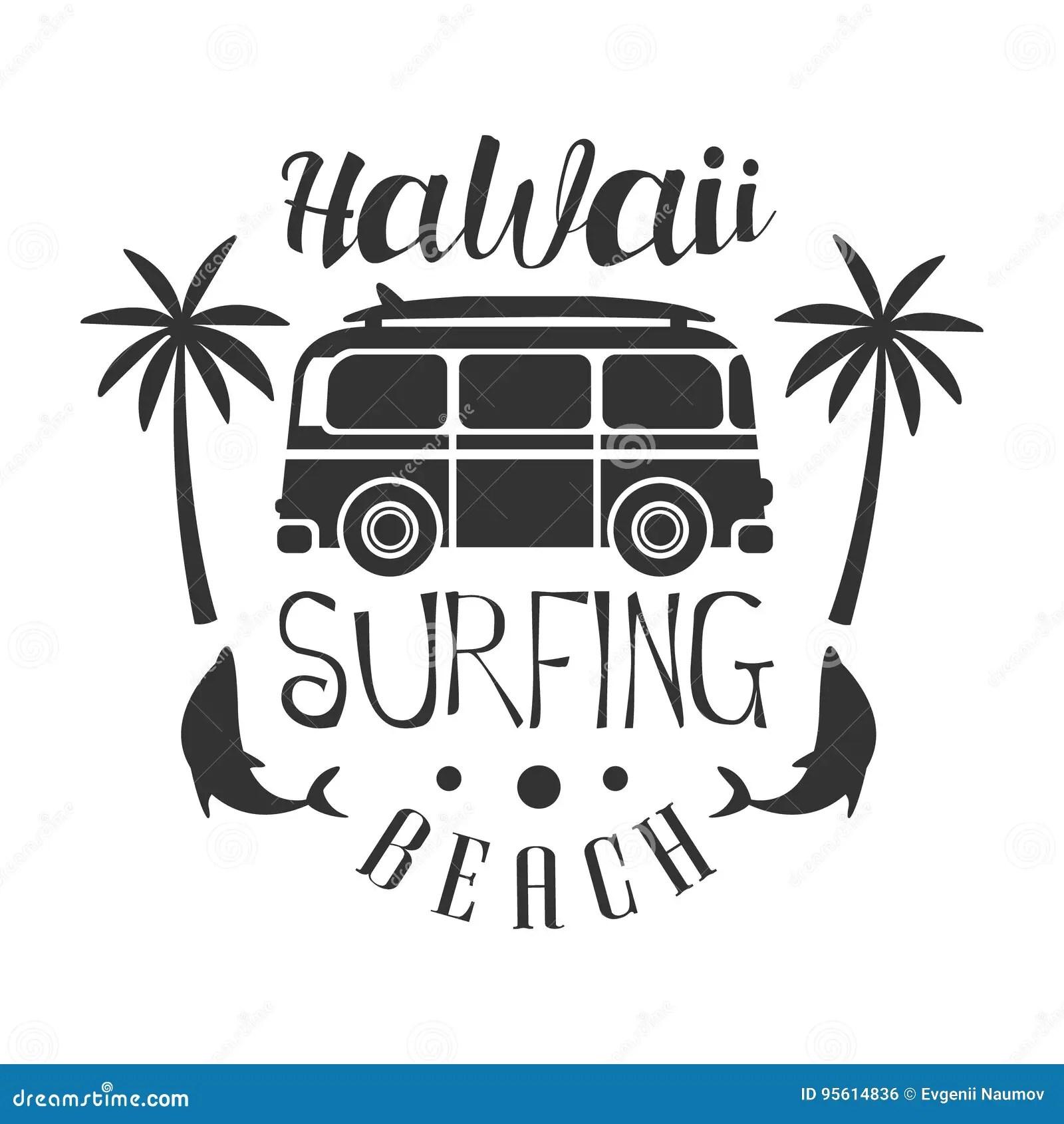 Plage D Hawai Calibre Surfant De Logo Illustration Noire