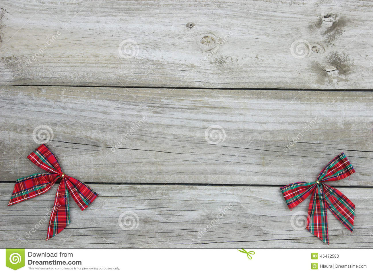 Plaid Christmas Bows Border With Rustic Wood Background