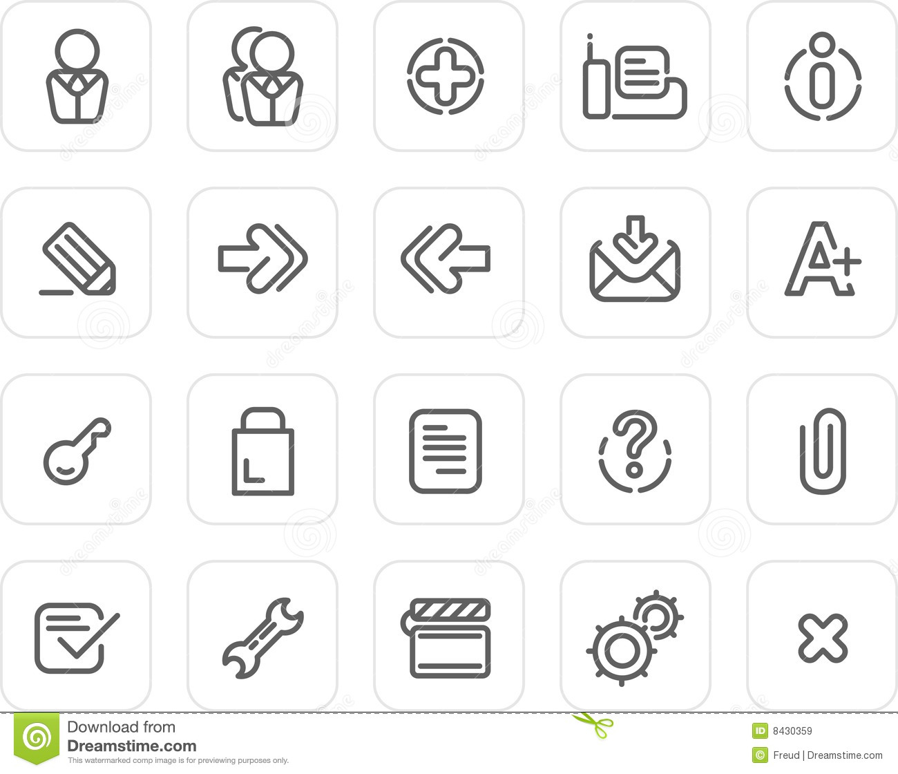 Plain Icon Set: Website And Internet 2 Stock Vector