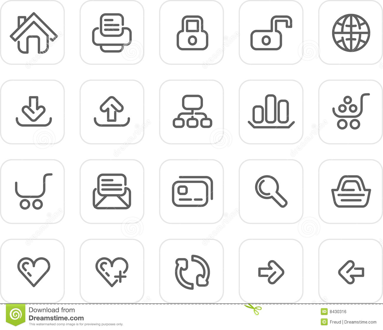 Plain Icon Set: Website And Internet Stock Vector