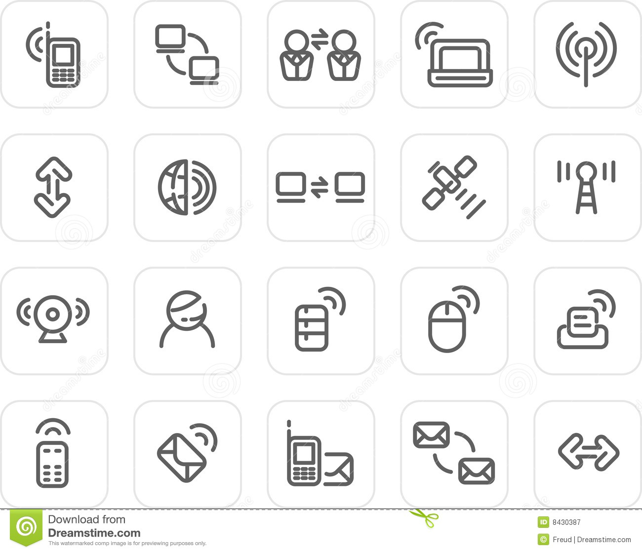 Plain Icon Set Wireless And Technology Royalty Free Stock