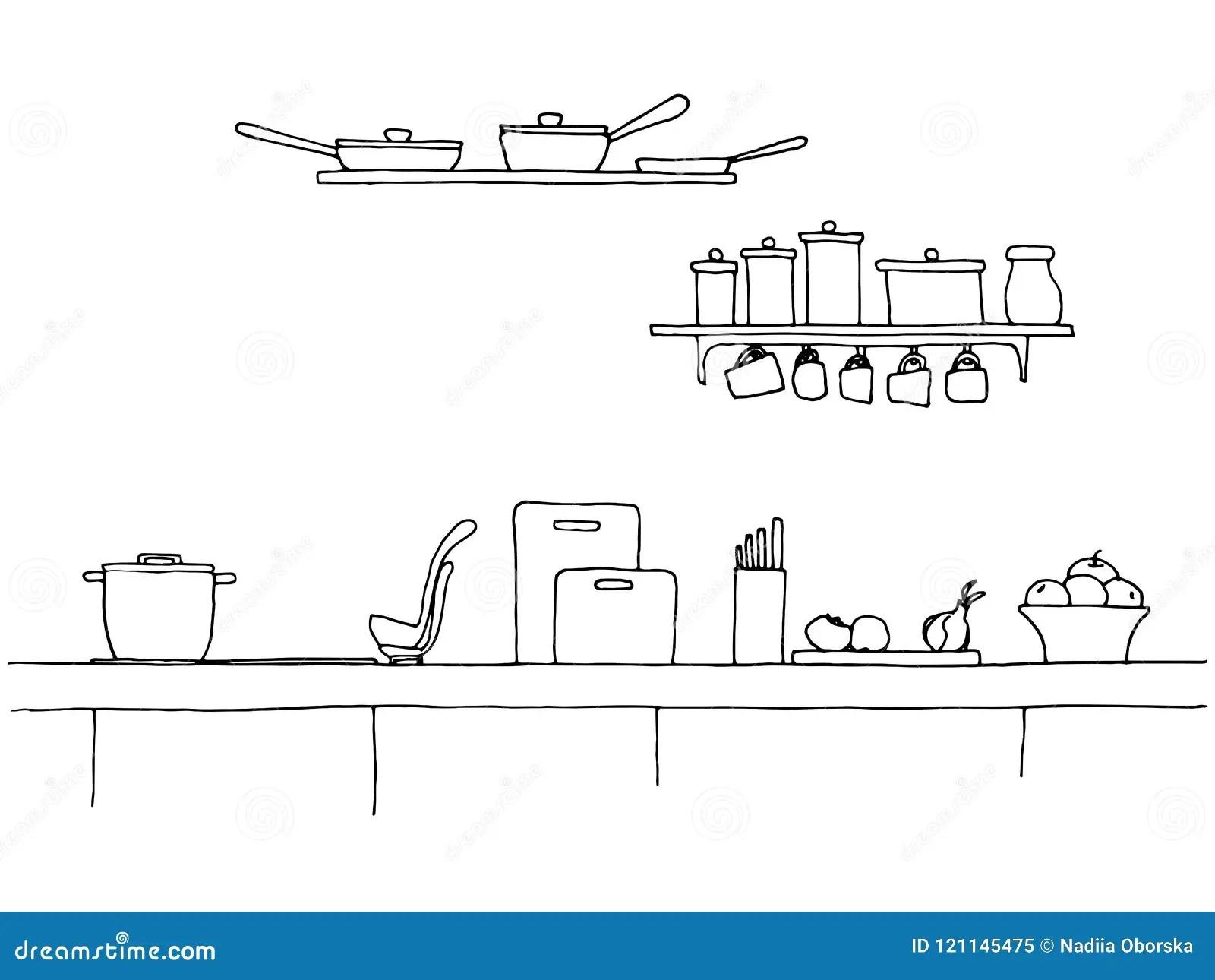https fr dreamstime com plan travail cuisine dessus tableau illustration vecteur style croquis image121145475