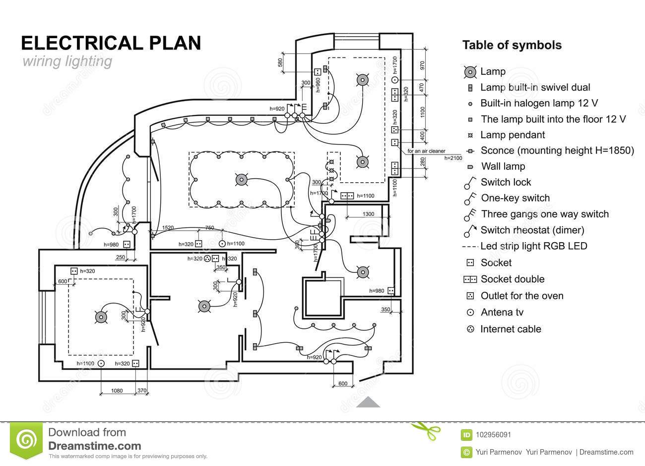 Plan Wiring Lighting. Electrical Schematic Interior. Set