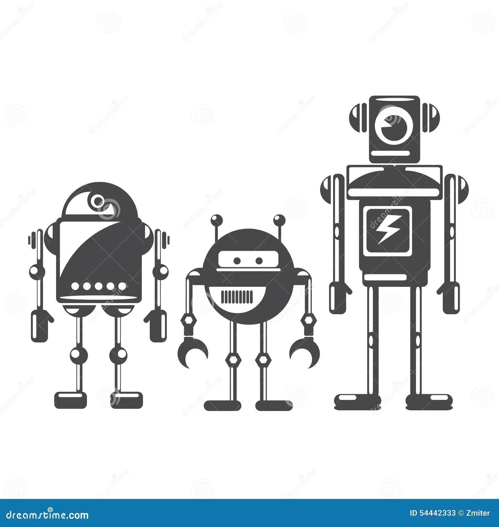 Plana Designstilrobotar Och Cyborgs Vektor Illustrationer