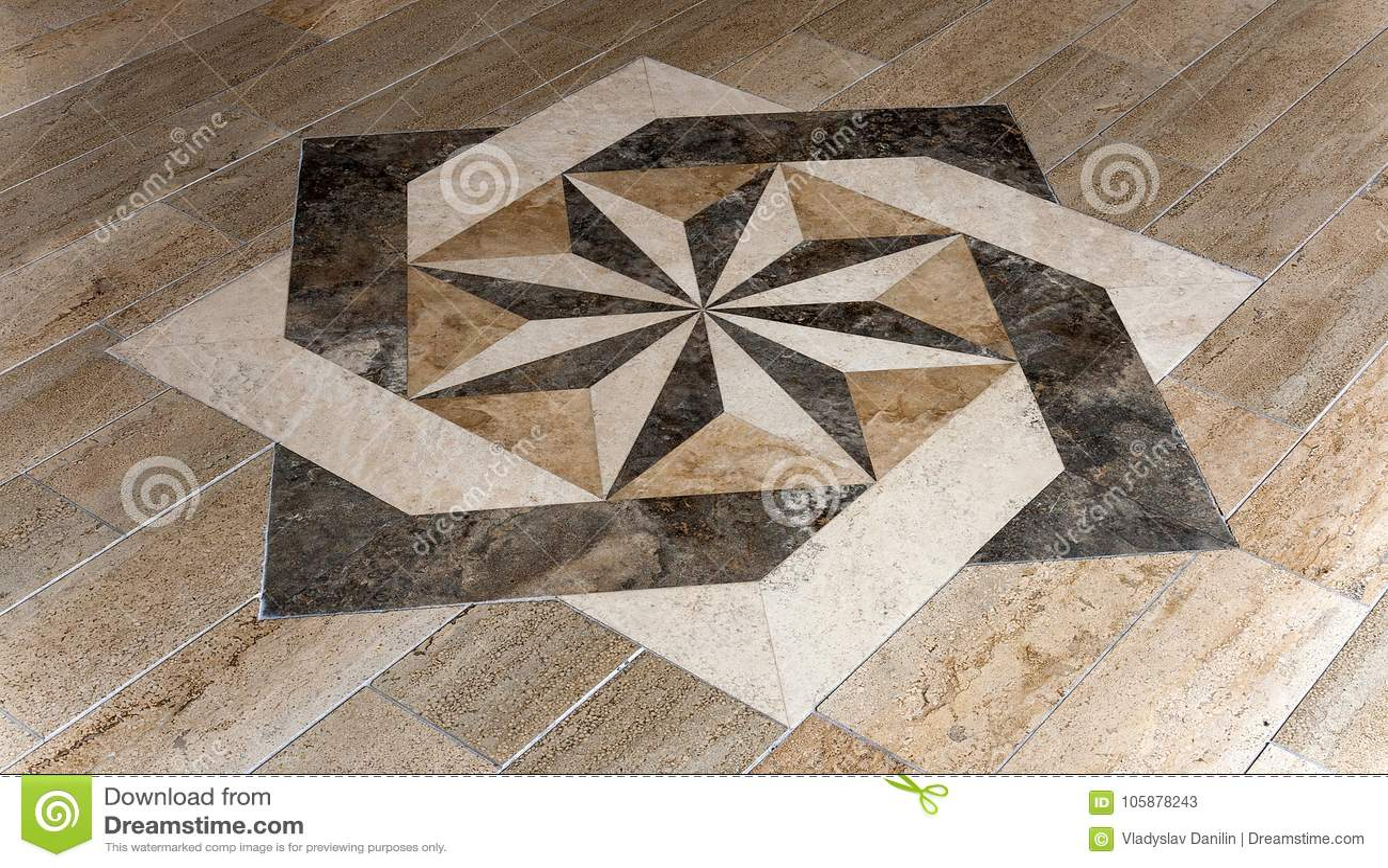 Plancher Rose De Forme D Etoile De Mosaique De Vent Image Stock Image Du Etoile Forme 105878243