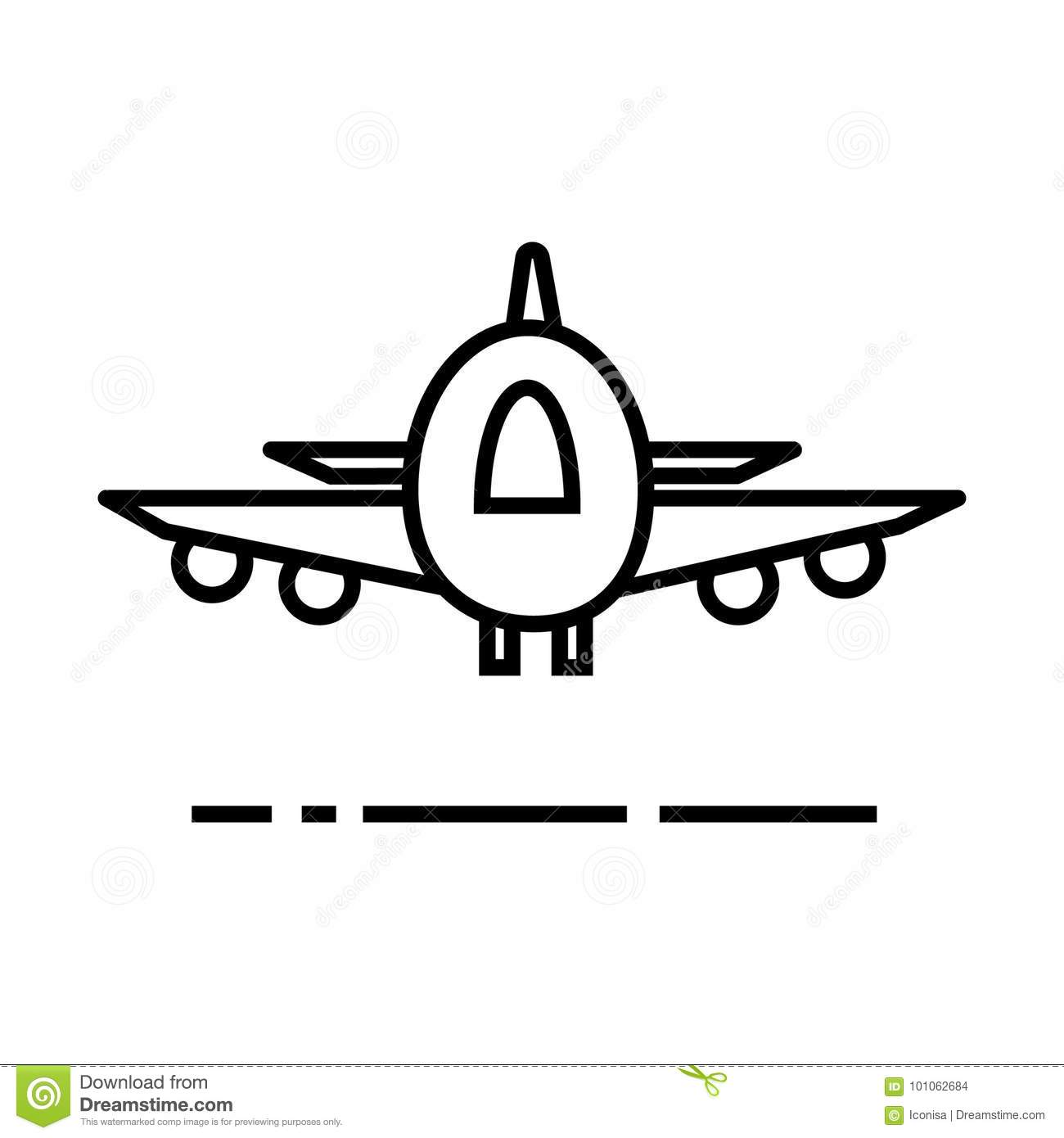 Plane Airoport Fast Delivery Vector Line Icon Sign