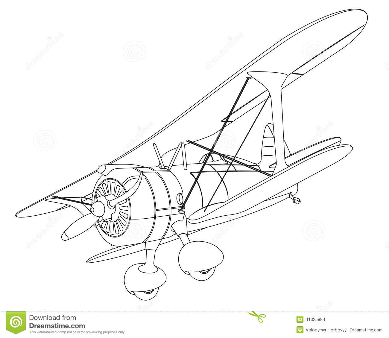 Small Private Airplane Vector Sketch Illustration Clip Art