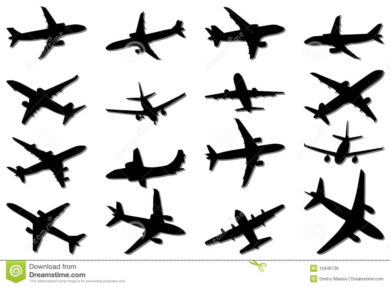 Plane Silhouettes Stock Vector Illustration Of Vessel