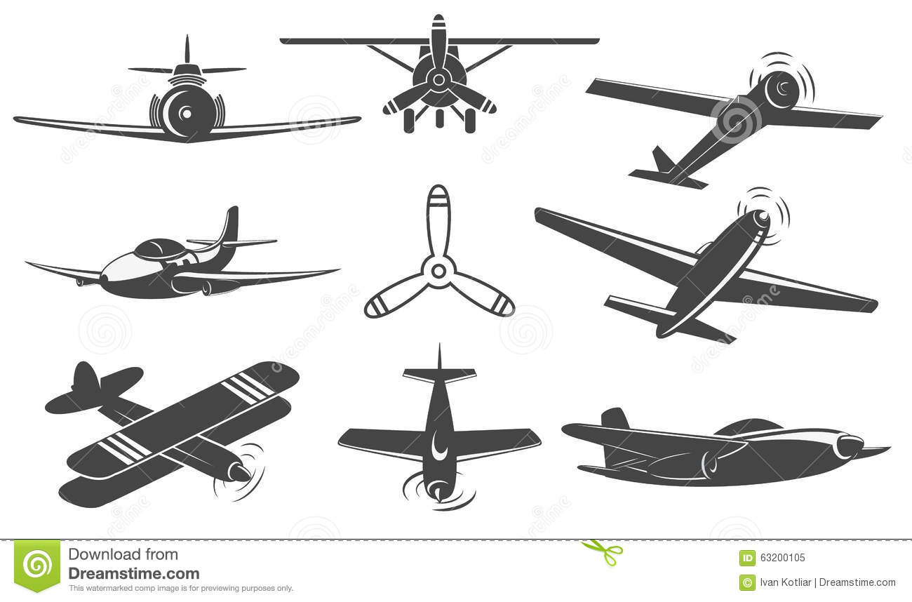 Planes Set In Vector Stock Vector Illustration Of Engine