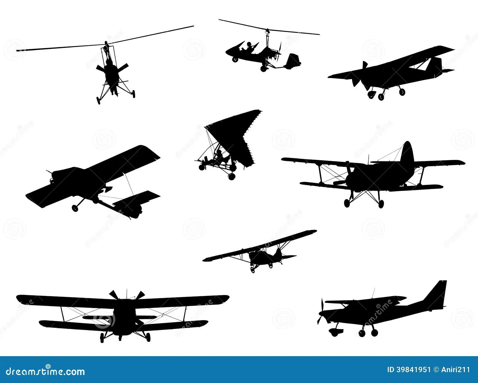 Planes Silhouette Set Stock Illustration Illustration Of