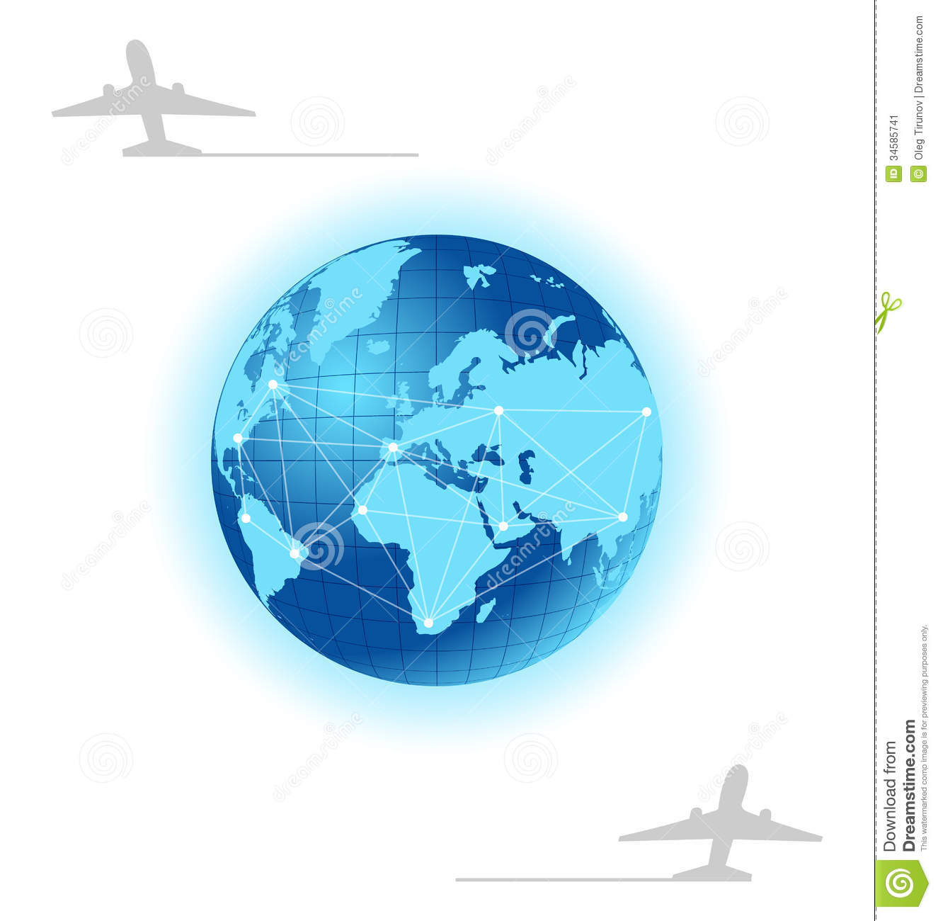 Planet With Label Plane For Design Travel Brochure Stock