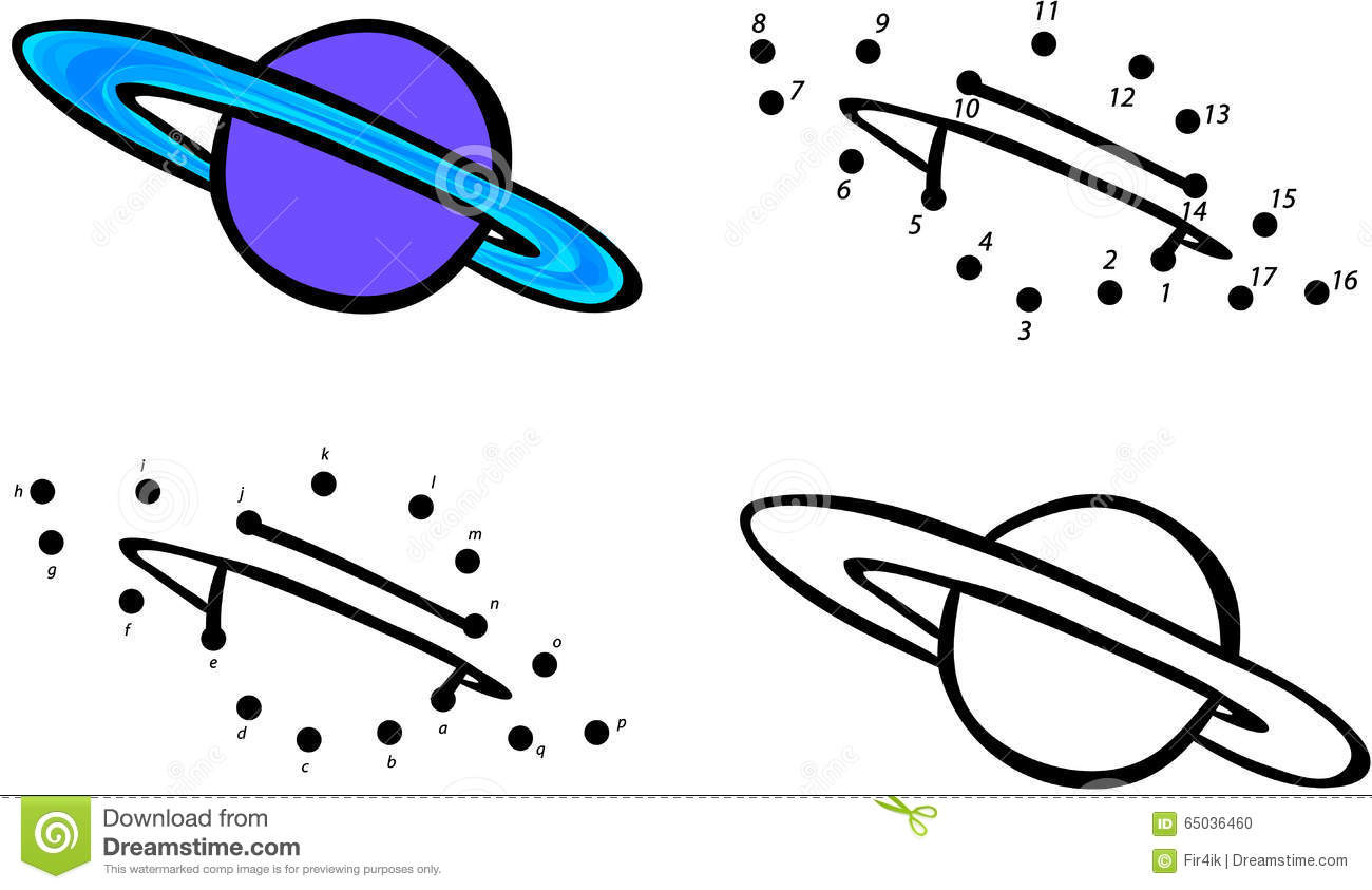 Planet Saturn And Its Rings Vector Illustration Coloring