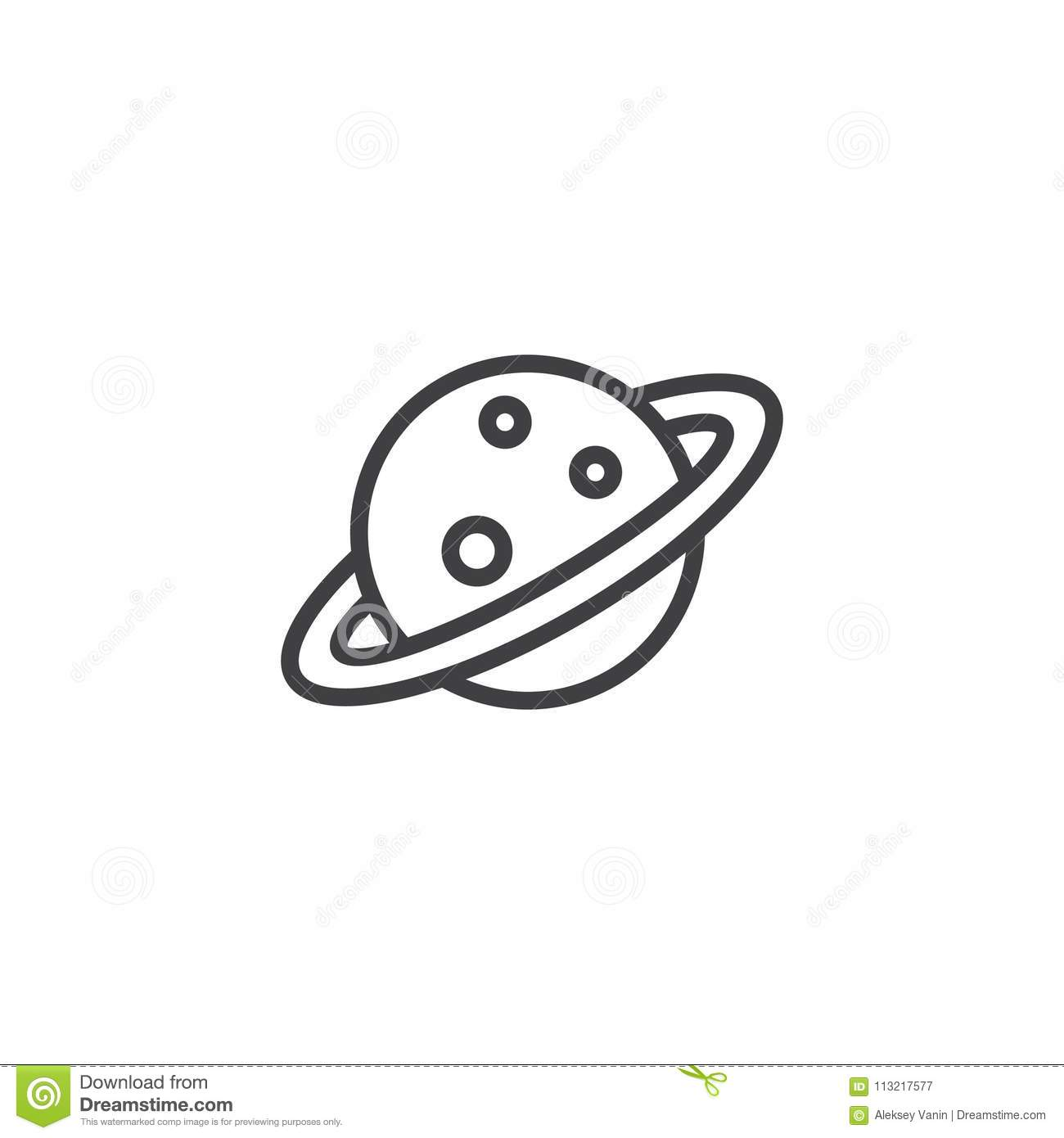 Planet Saturn With Planetary Ring System Outline Icon