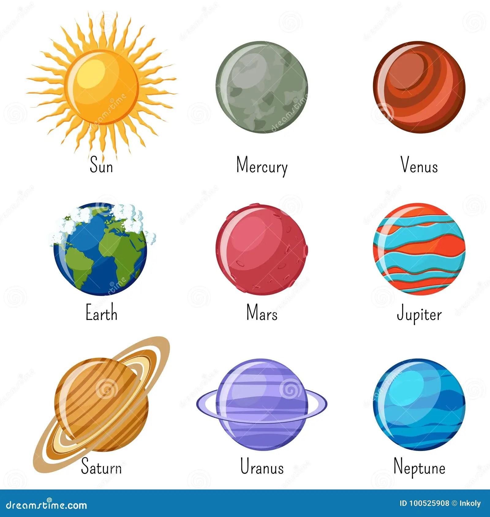 Planetas De La Sistema Solar Y El Sun Con Nombres Ilustracion Del Vector