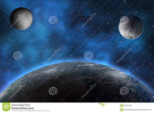 Planet with Two Moons in the Sky