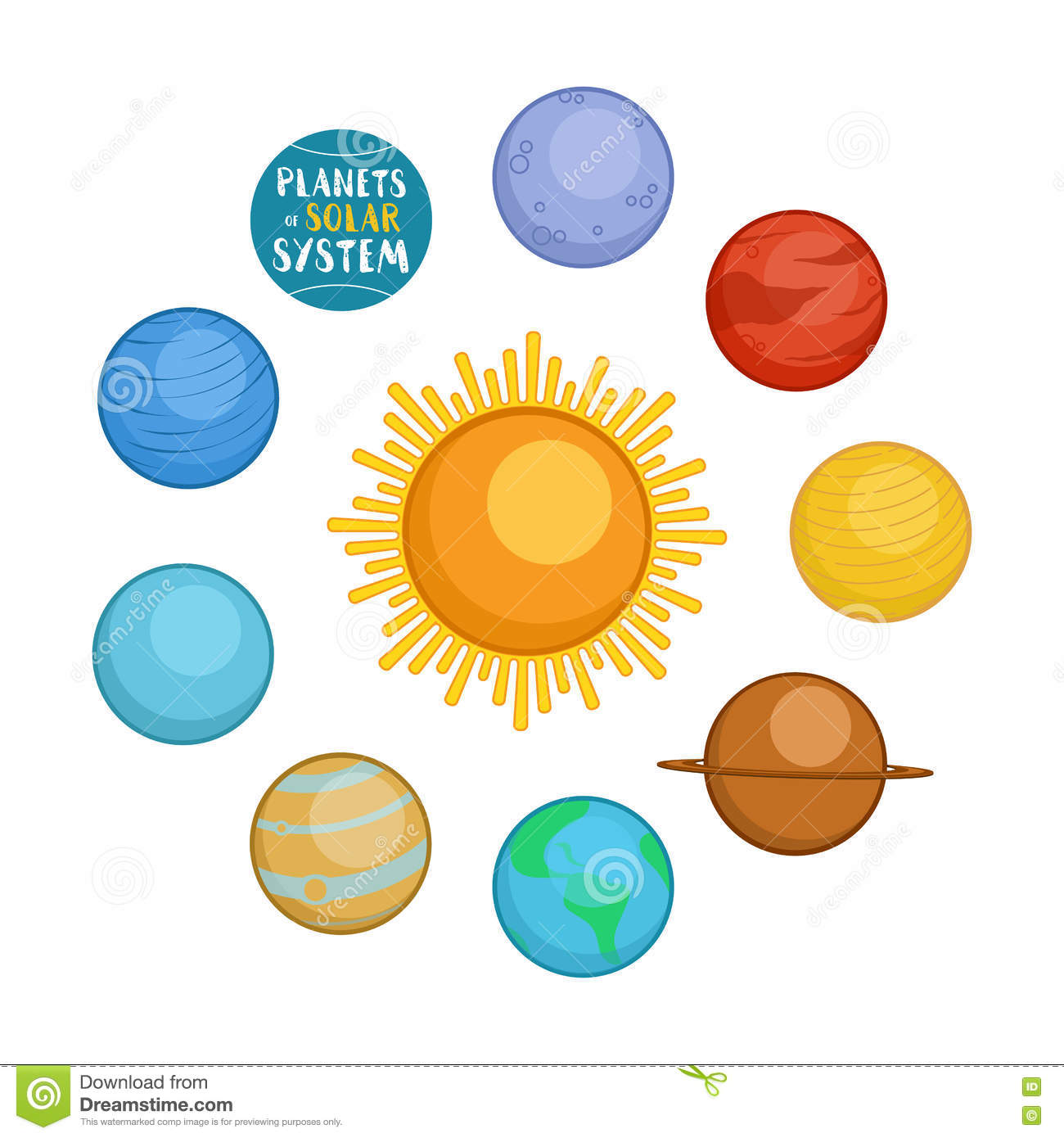 Planets Of Solar System Cartoon Style Vector Illustration