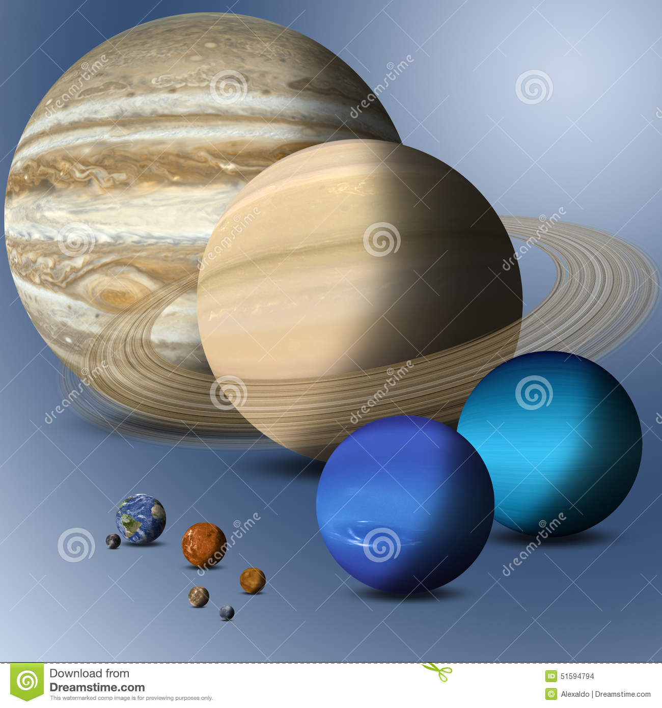Planets Of Solar System Full Size Comparison Stock