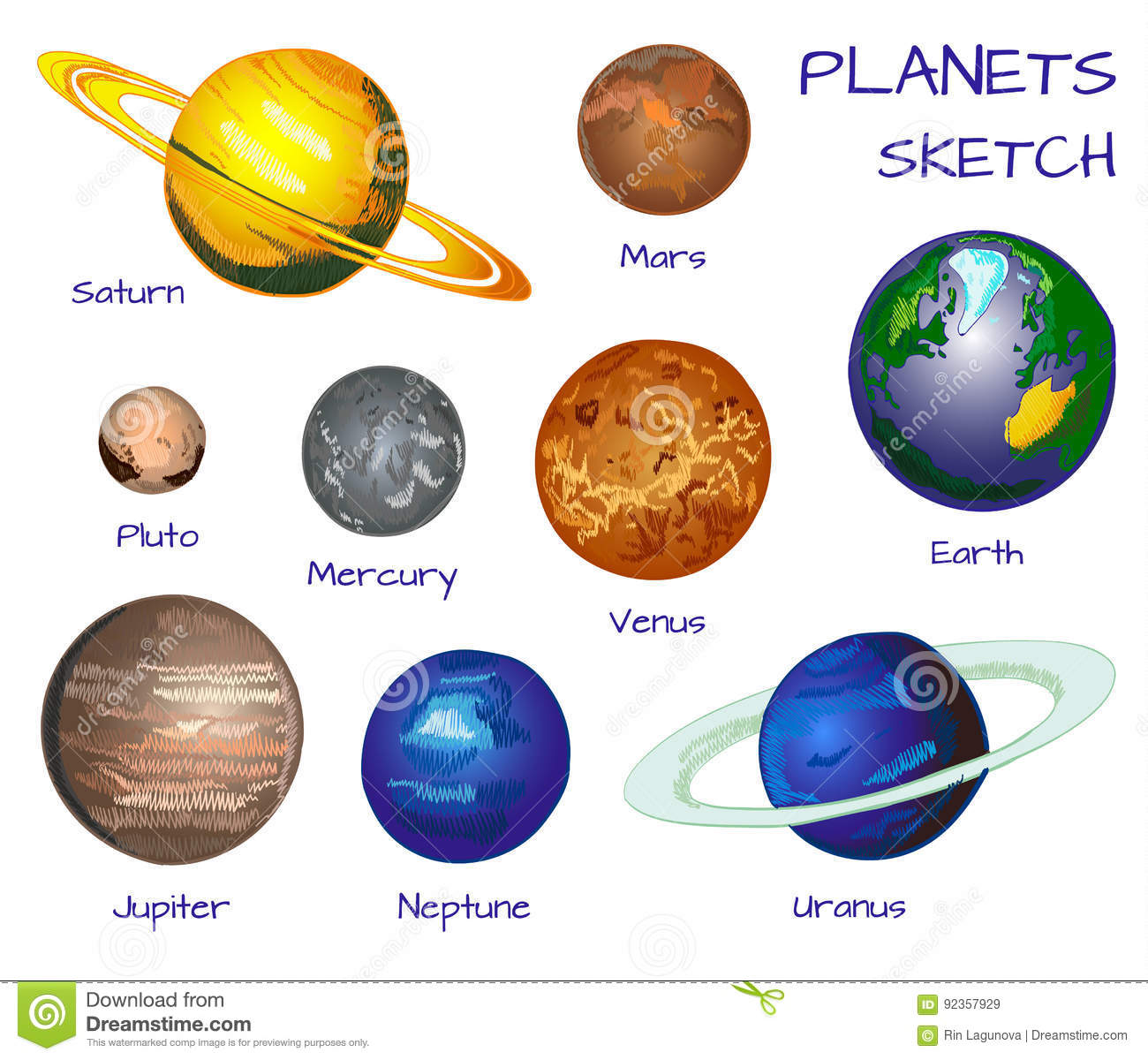 Planets Of The Solar System Vector Hand Drawn Set On