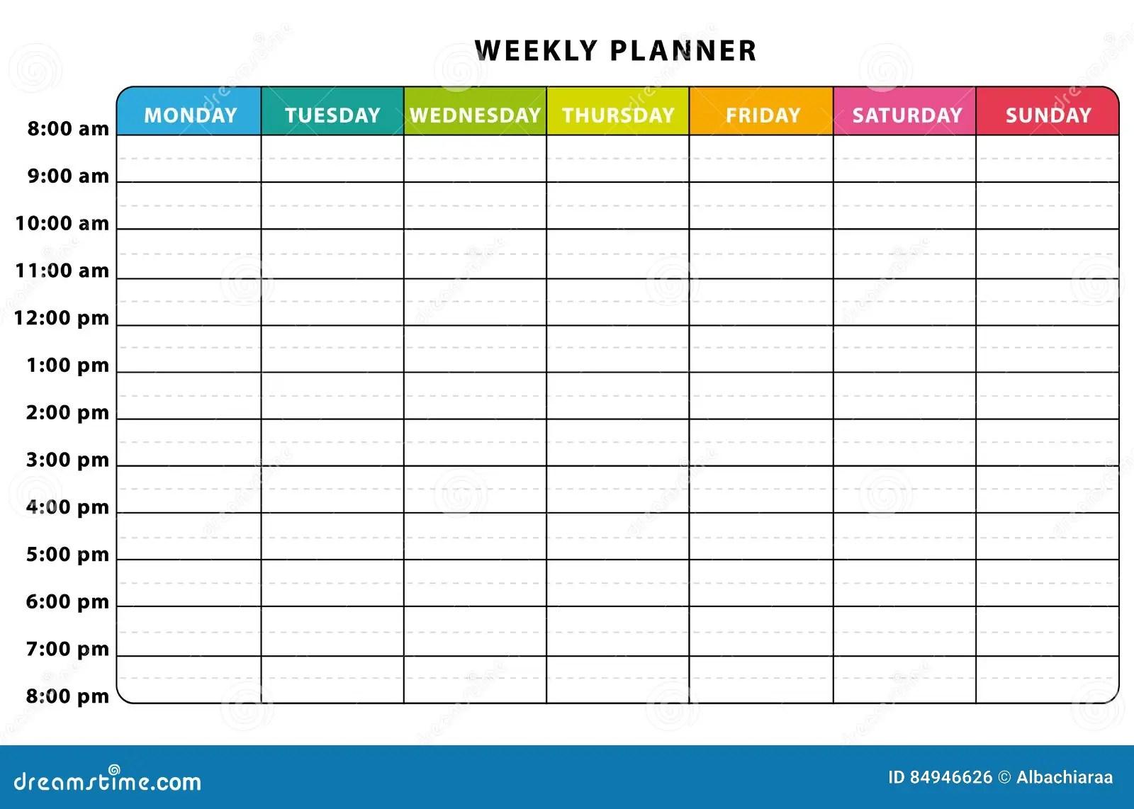 Planificateur Hebdomadaire Illustration De Vecteur
