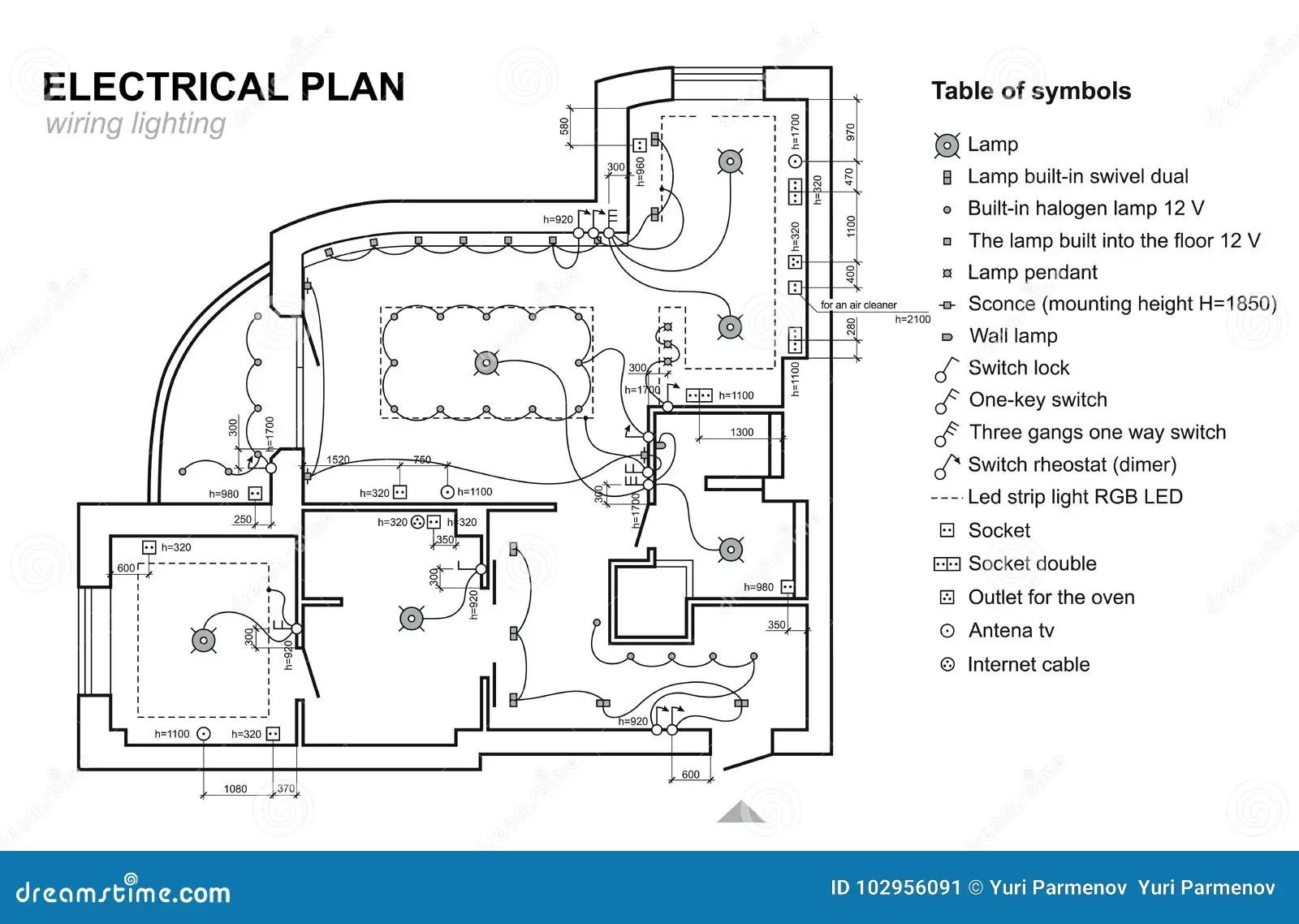Planledningsnatbelysning Inre For Elektriskt Schema