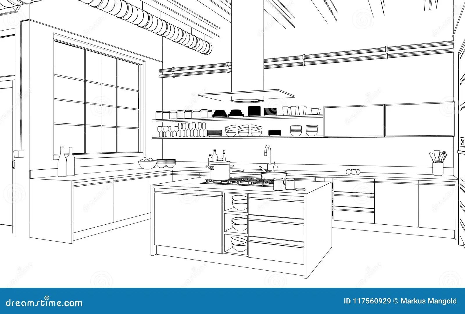 Plano Moderno Do Desenho Da Cozinha Do Design De