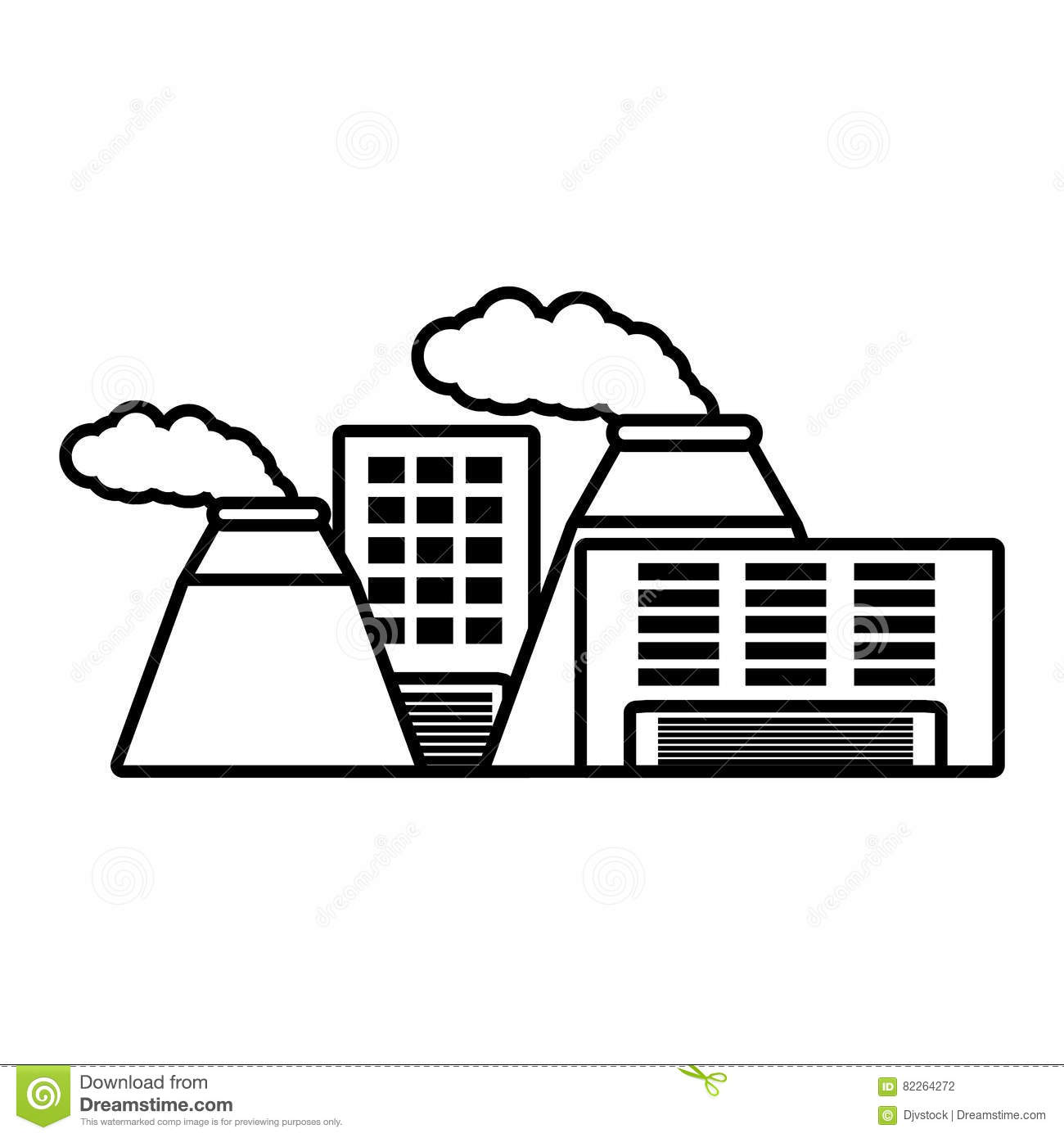 Plant Nuclear And Factory Building Outline Stock Illustration